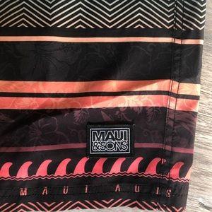 "Maui & Sons Swim - Maui Sons Board Shorts 36"" Black Red Blue Stripes"